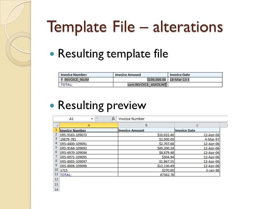 Template File – alterations Resulting template file Resulting preview