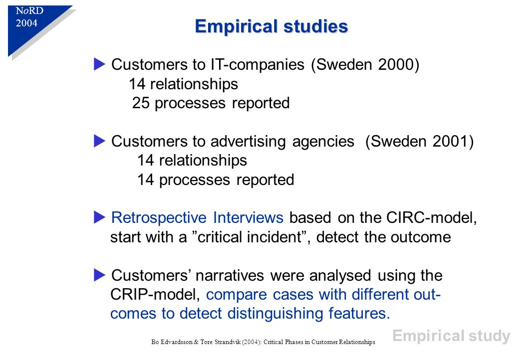 N o RD 2004 N o RD 2004 Bo Edvardsson & Tore Strandvik (2004): Critical Phases in Customer Relationships Empirical studies  Customers to IT-companies (Sweden 2000) 14 relationships 25 processes reported  Customers to advertising agencies (Sweden 2001) 14 relationships 14 processes reported  Retrospective Interviews based on the CIRC-model, start with a critical incident , detect the outcome  Customers' narratives were analysed using the CRIP-model, compare cases with different out- comes to detect distinguishing features.