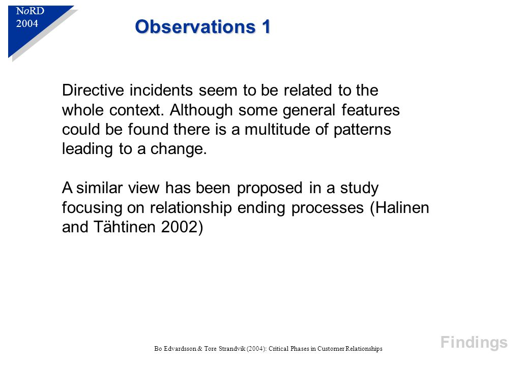 N o RD 2004 N o RD 2004 Bo Edvardsson & Tore Strandvik (2004): Critical Phases in Customer Relationships Observations 1 Directive incidents seem to be related to the whole context.