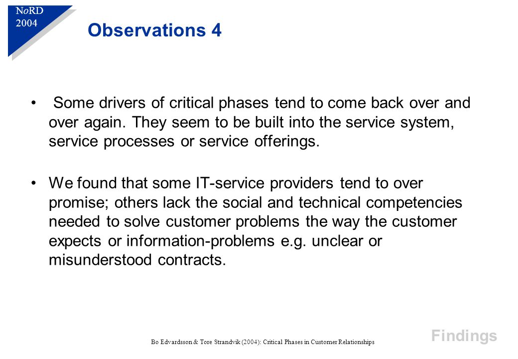 N o RD 2004 N o RD 2004 Bo Edvardsson & Tore Strandvik (2004): Critical Phases in Customer Relationships Some drivers of critical phases tend to come back over and over again.