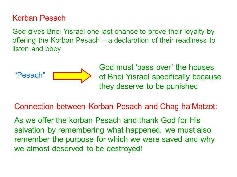 Korban Pesach God gives Bnei Yisrael one last chance to prove their loyalty by offering the Korban Pesach – a declaration of their readiness to listen and obey Pesach Connection between Korban Pesach and Chag ha'Matzot: As we offer the korban Pesach and thank God for His salvation by remembering what happened, we must also remember the purpose for which we were saved and why we almost deserved to be destroyed.