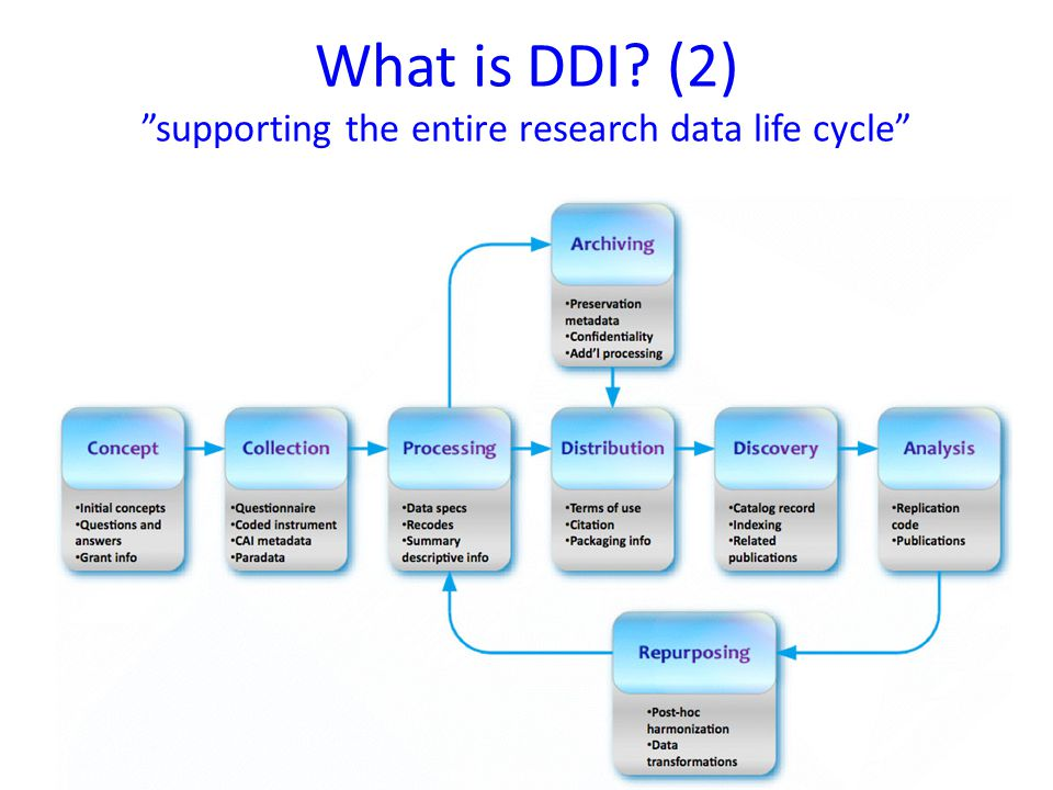 What is DDI (2) supporting the entire research data life cycle