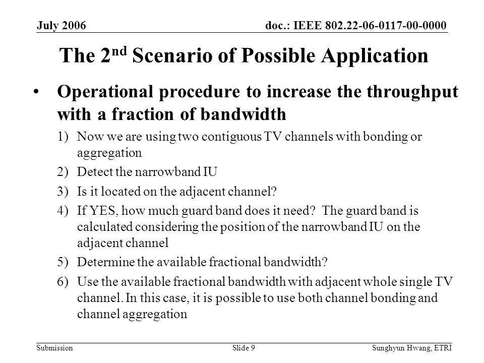 doc.: IEEE 802.22-06-0117-00-0000 Submission July 2006 Sunghyun Hwang, ETRISlide 10 The 3 rd Scenario of Possible Application To decrease the interference with the narrowband IU during the channel switching (concept) –On appearing the narrowband IU, we will evacuate quickly subcarriers same as the spectrum occupied by the IU  Fractional BW mode is activated –By using the fractional BW, we can transmit the explicit channel switching information without interference with the IU –Therefore, during the Channel Move Time(< 2 sec), we can significantly decrease the interference with IU –It can be advantageous to narrowband incumbent users, such as wireless microphone