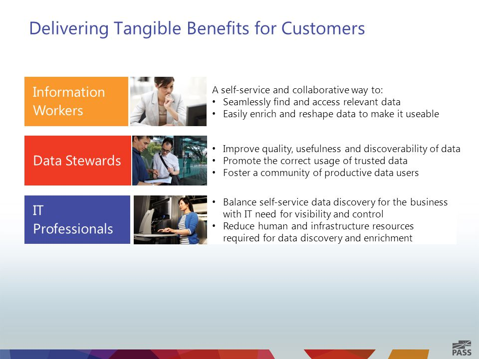 Delivering Tangible Benefits for Customers A self-service and collaborative way to: Seamlessly find and access relevant data Easily enrich and reshape data to make it useable Balance self-service data discovery for the business with IT need for visibility and control Reduce human and infrastructure resources required for data discovery and enrichment Improve quality, usefulness and discoverability of data Promote the correct usage of trusted data Foster a community of productive data users