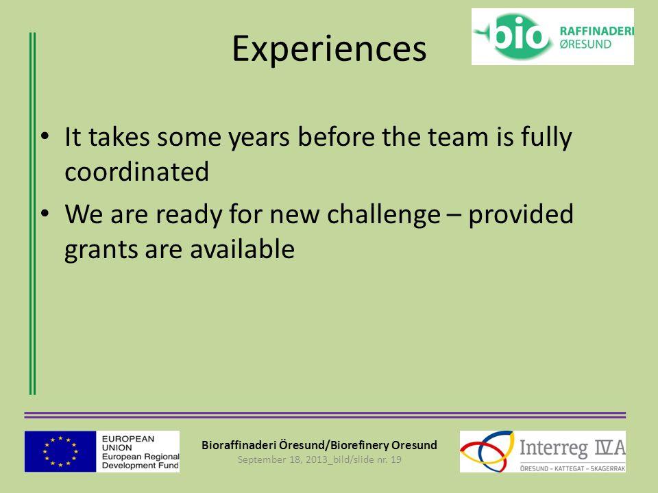 Bioraffinaderi Öresund/Biorefinery Oresund September 18, 2013_bild/slide nr. 19 Experiences It takes some years before the team is fully coordinated W