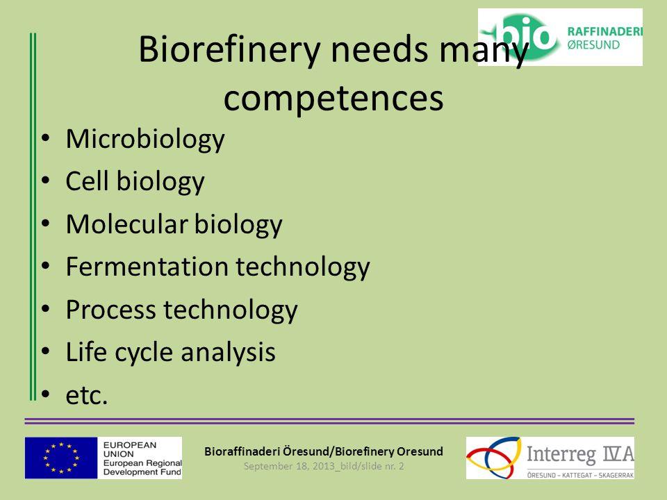 Bioraffinaderi Öresund/Biorefinery Oresund September 18, 2013_bild/slide nr. 2 Biorefinery needs many competences Microbiology Cell biology Molecular