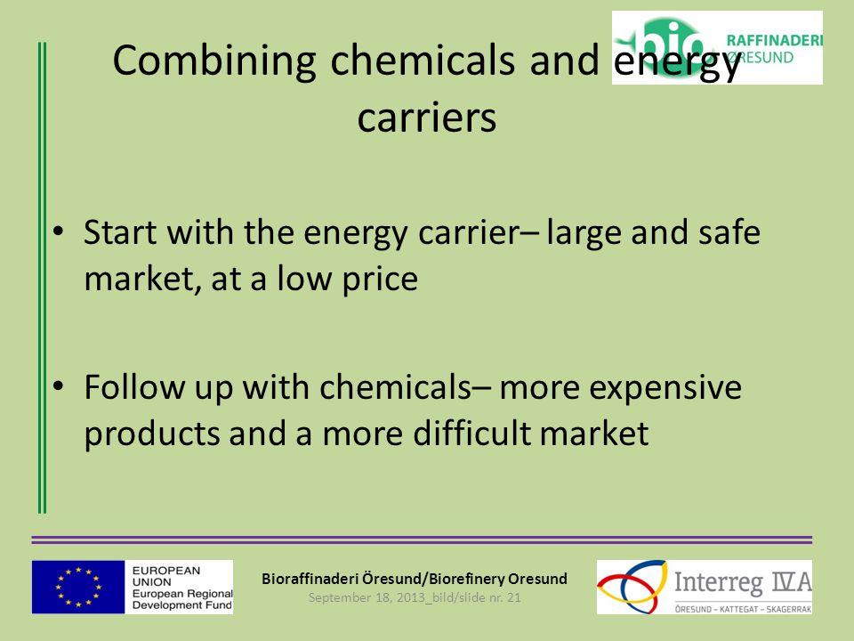 Bioraffinaderi Öresund/Biorefinery Oresund September 18, 2013_bild/slide nr. 21 Combining chemicals and energy carriers Start with the energy carrier–