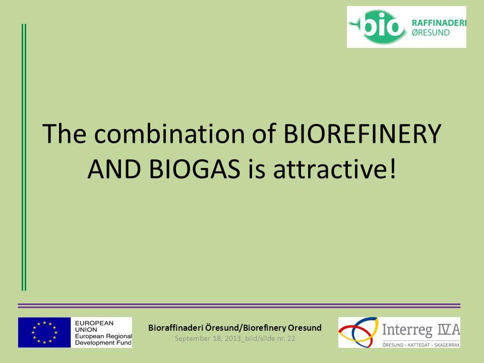 Bioraffinaderi Öresund/Biorefinery Oresund September 18, 2013_bild/slide nr. 22 The combination of BIOREFINERY AND BIOGAS is attractive!