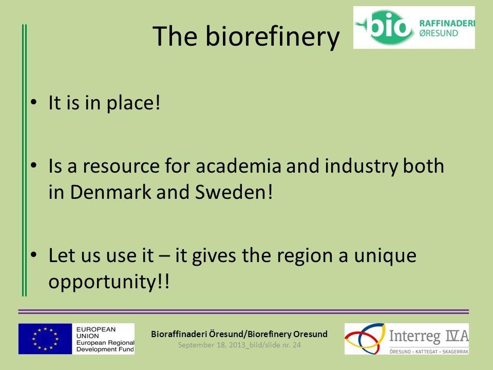 Bioraffinaderi Öresund/Biorefinery Oresund September 18, 2013_bild/slide nr. 24 The biorefinery It is in place! Is a resource for academia and industr