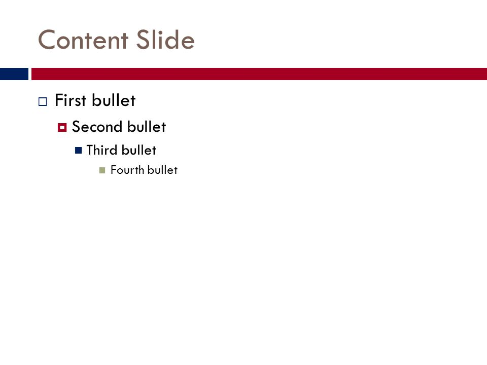Content Slide with caption Add color to your slides if you wish  First bullet  Second bullet Third bullet Fourth bullet