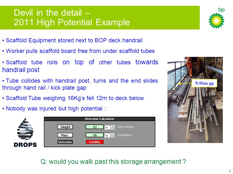 7 Summary Although statistics show an improving trend complacency is dangerous as high potential incidents are persistent  need to keep the issue 'live' with offshore personnel DO Hazard Hunts are good at eliminating loose items but poor maintenance + incorrect use of equipment are frequent causes of DO's Basic issues still have the potential to hurt us e.g.