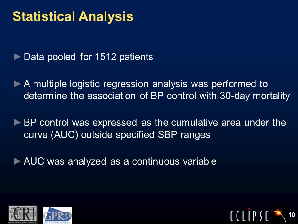 10 Statistical Analysis ► Data pooled for 1512 patients ► A multiple logistic regression analysis was performed to determine the association of BP control with 30-day mortality ► BP control was expressed as the cumulative area under the curve (AUC) outside specified SBP ranges ► AUC was analyzed as a continuous variable