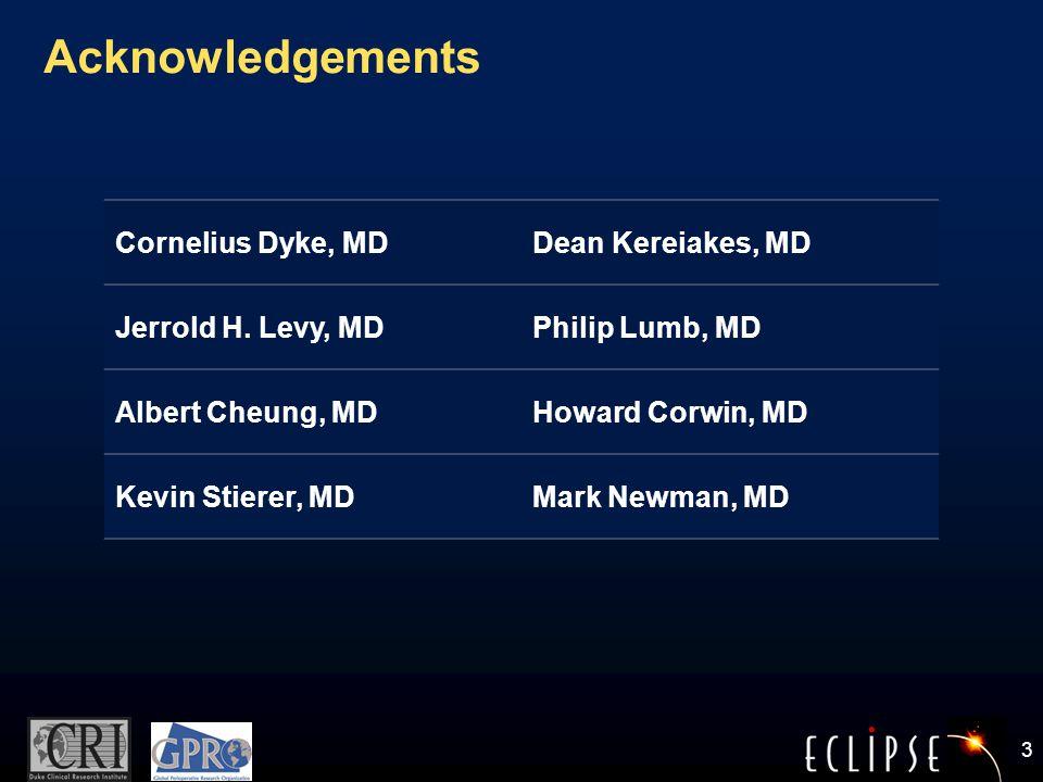 3 Acknowledgements Cornelius Dyke, MDDean Kereiakes, MD Jerrold H.