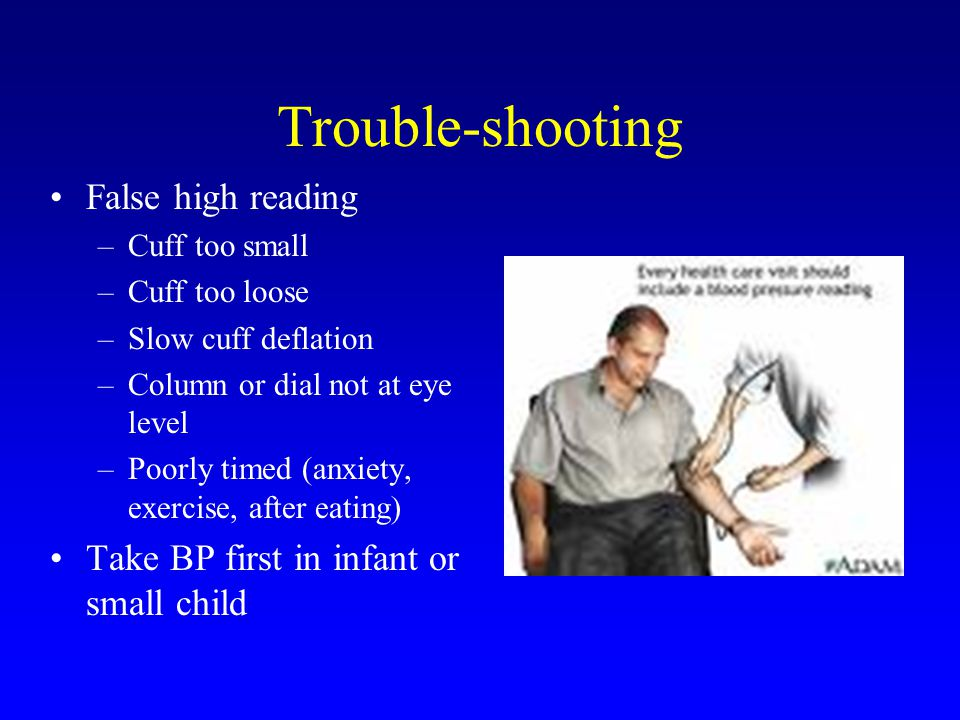 Trouble-shooting False high reading –Cuff too small –Cuff too loose –Slow cuff deflation –Column or dial not at eye level –Poorly timed (anxiety, exercise, after eating) Take BP first in infant or small child