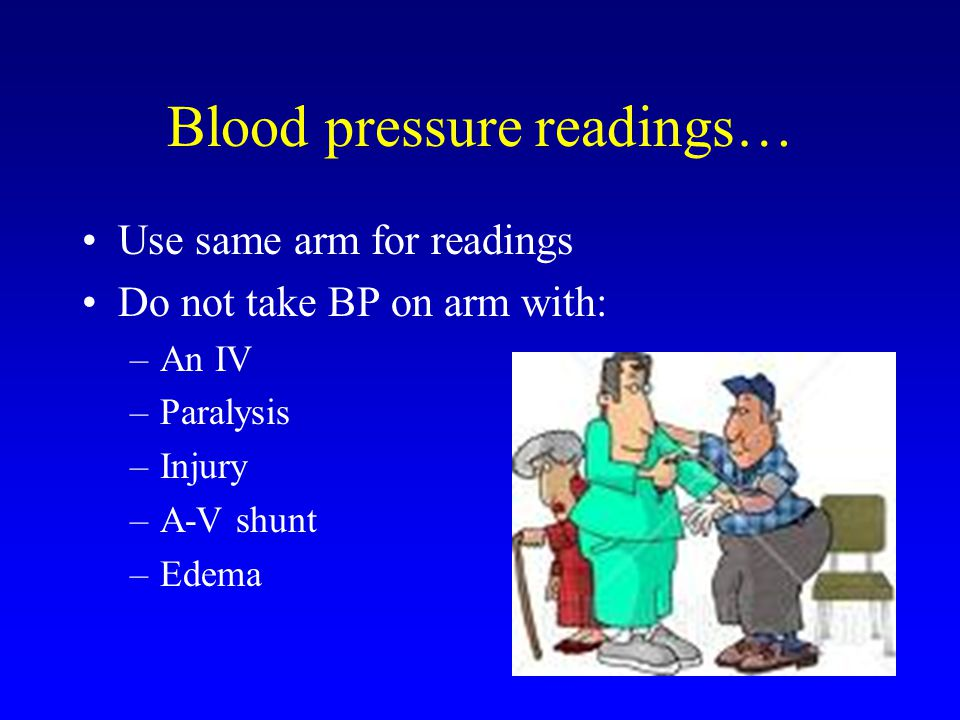 Blood pressure readings… Use same arm for readings Do not take BP on arm with: –An IV –Paralysis –Injury –A-V shunt –Edema