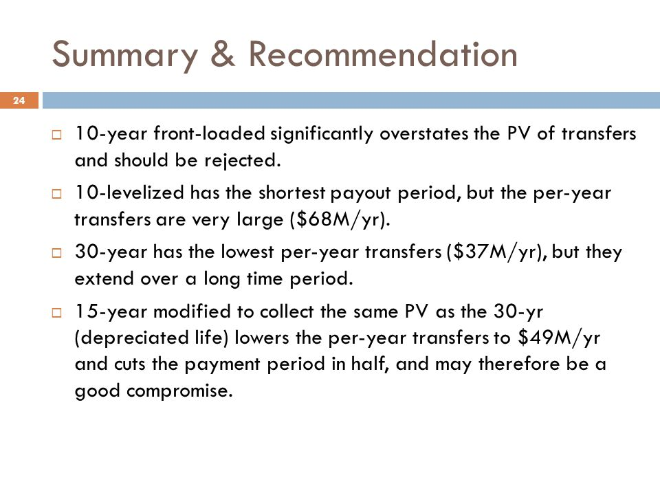 Summary & Recommendation  10-year front-loaded significantly overstates the PV of transfers and should be rejected.