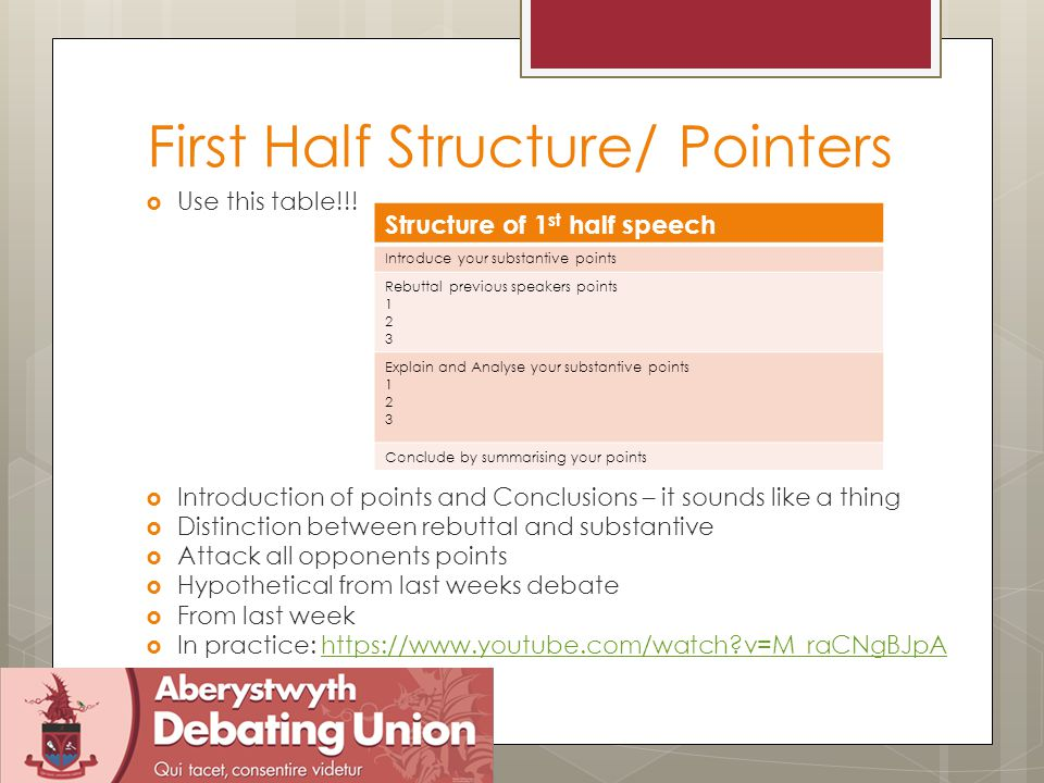 Second Half Structure/Pointers  No knew material must be in Summary speeches.