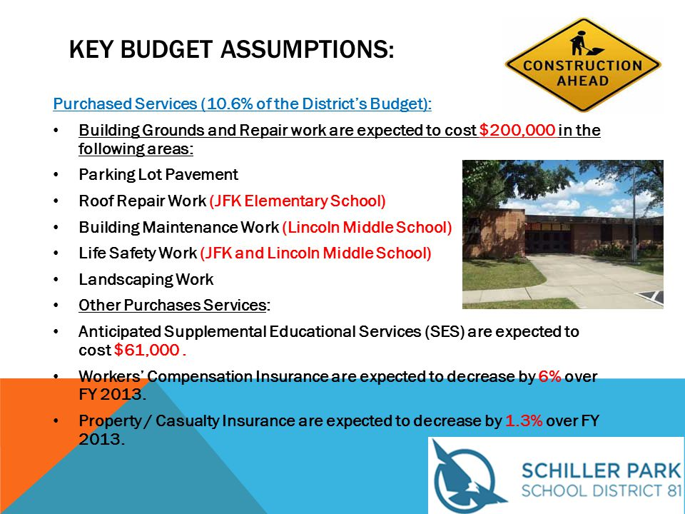 KEY BUDGET ASSUMPTIONS: Purchased Services (10.6% of the District's Budget): Building Grounds and Repair work are expected to cost $200,000 in the following areas: Parking Lot Pavement Roof Repair Work (JFK Elementary School) Building Maintenance Work (Lincoln Middle School) Life Safety Work (JFK and Lincoln Middle School) Landscaping Work Other Purchases Services: Anticipated Supplemental Educational Services (SES) are expected to cost $61,000.