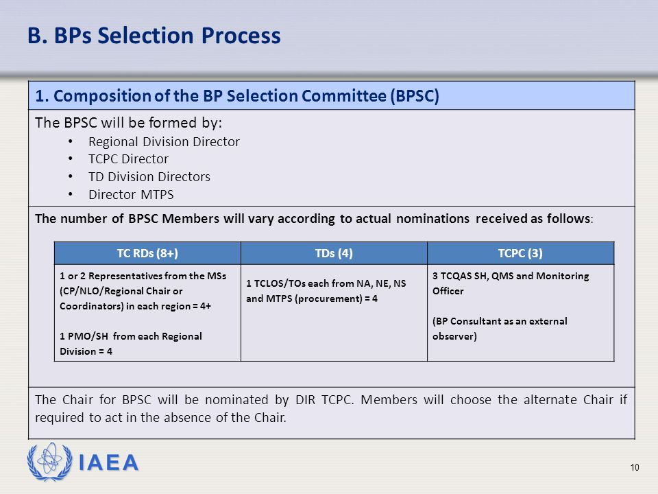 IAEA B. BPs Selection Process 1.
