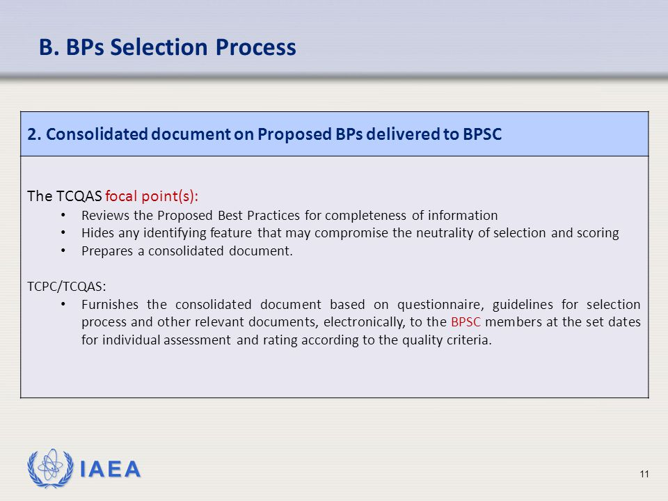 IAEA 2. Consolidated document on Proposed BPs delivered to BPSC The TCQAS focal point(s): Reviews the Proposed Best Practices for completeness of info