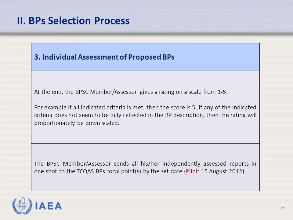 IAEA II. BPs Selection Process 3.