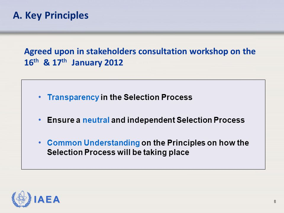 IAEA Sharing Best Practices for the Design and Management of TC Projects Part IV: Selection and Validation Results 19