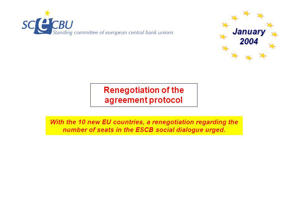 With the 10 new EU countries, a renegotiation regarding the number of seats in the ESCB social dialogue urged. January2004 Renegotiation of the agreem