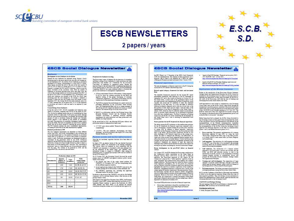 E.S.C.B.S.D. ESCB NEWSLETTERS 2 papers / years