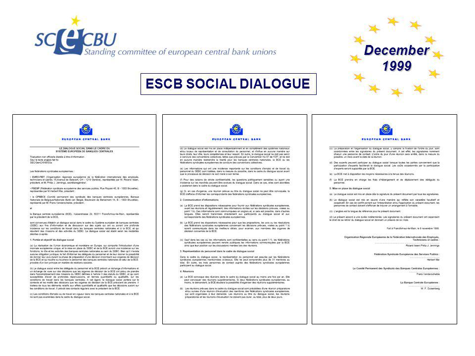 1999 CONTACT PERSONS 1 1 1 STANDING COMMITTEE OF EUROPEAN CENTRAL BANK UNIONS UNION NETWORK INTERNATIONAL - FINANCE EUROPEAN PUBLIC SERVICE UNIONS 1.Agenda for the ESCB Social Dialogue meetings 2.Preparatory meeting of ESCB Social Dialogue 3.Plenary meeting of ESCB Social Dialogue 4.ESCB Social Dialogue conclusions + AUSTRIA DENMARK FINLAND FRANCE GERMANY GREECE IRELAND ITALY LUXEMBURG NETHERLANDS BELGIUM PORTUGAL SPAIN U.