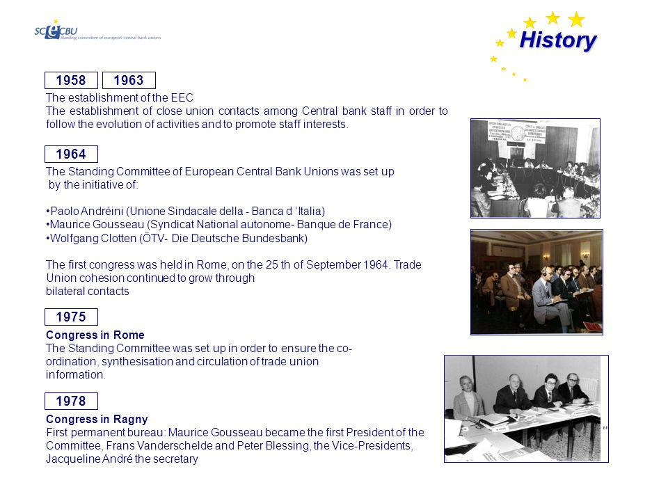 History 1975 Congress in Rome The Standing Committee was set up in order to ensure the co- ordination, synthesisation and circulation of trade union information.