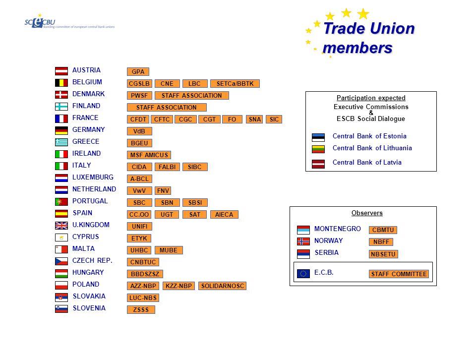 Trade Union Members AUSTRIA GPA BELGIUM CNELBCCGSLBSETCa/BBTK DENMARK PWSFSTAFF ASSOCIATION FINLAND FRANCE CFTCCGCCGTFOSNASICCFDT VdB GERMANY GREECE BGEU IRELAND MSF AMICUS CZECH REP.