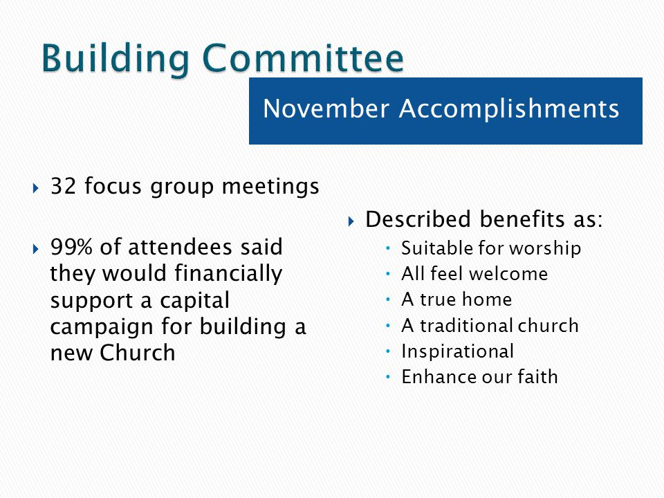 November Accomplishments  32 focus group meetings  99% of attendees said they would financially support a capital campaign for building a new Church  Described benefits as:  Suitable for worship  All feel welcome  A true home  A traditional church  Inspirational  Enhance our faith