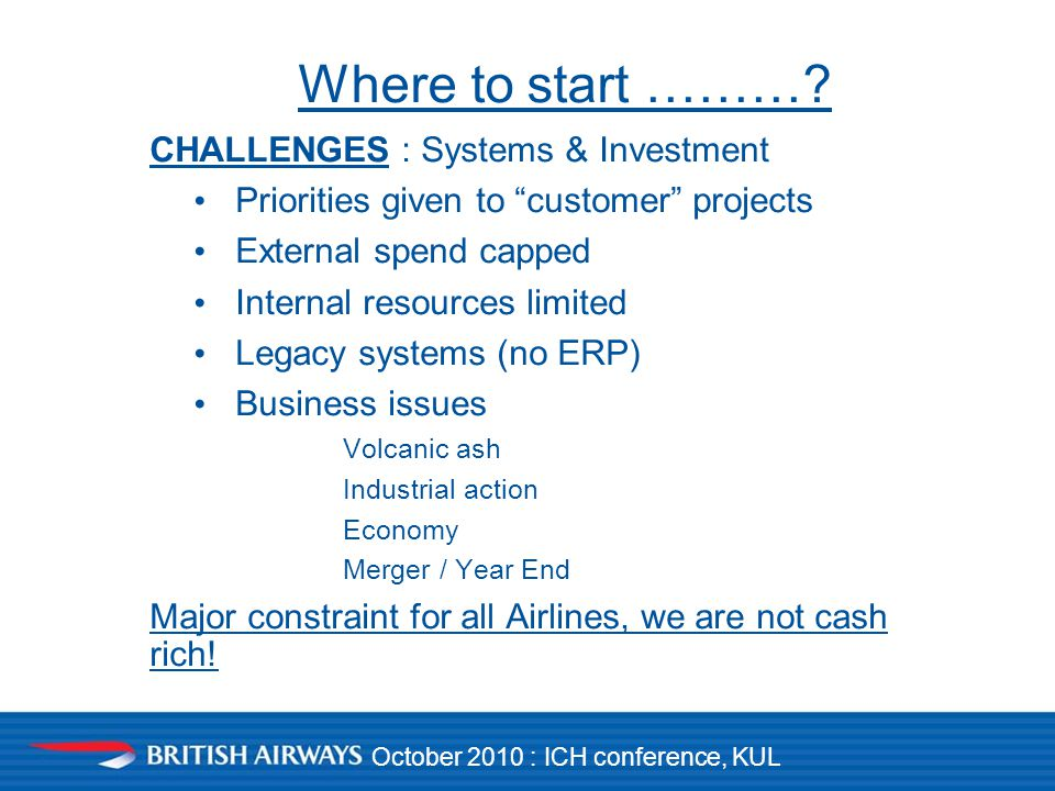 October 2010 : ICH conference, KUL Where to start ……….