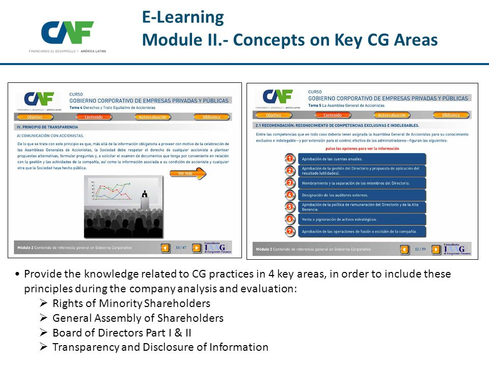 E-Learning Module II.- Concepts on Key CG Areas Provide the knowledge related to CG practices in 4 key areas, in order to include these principles during the company analysis and evaluation:  Rights of Minority Shareholders  General Assembly of Shareholders  Board of Directors Part I & II  Transparency and Disclosure of Information