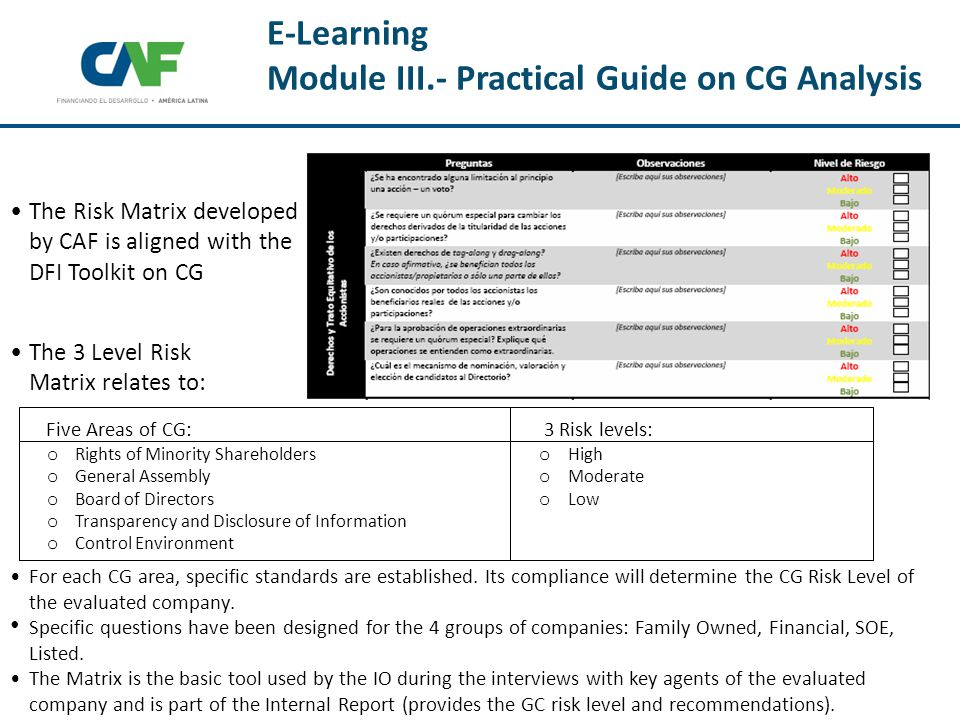 The 3 Level Risk Matrix relates to: For each CG area, specific standards are established.