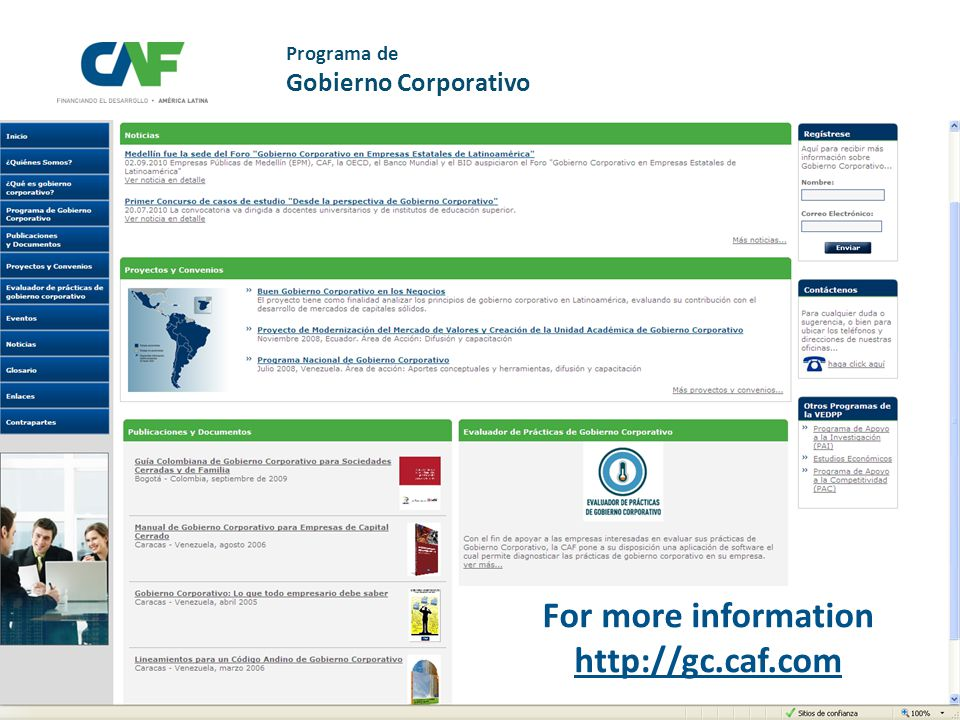 More information http://gc.caf.com Programa de Gobierno Corporativo For more information http://gc.caf.com
