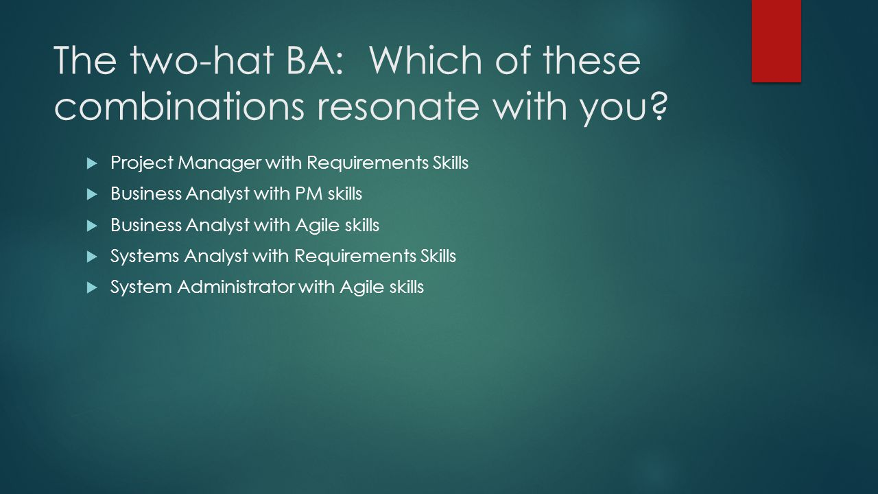 The two-hat BA: Which of these combinations resonate with you.
