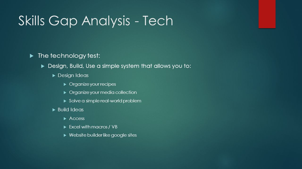 Skills Gap Analysis - Tech  The technology test:  Design, Build, Use a simple system that allows you to:  Design Ideas  Organize your recipes  Organize your media collection  Solve a simple real-world problem  Build Ideas  Access  Excel with macros / VB  Website builder like google sites