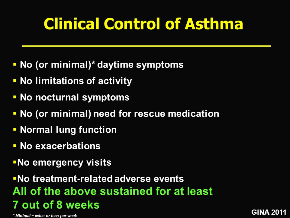 Clinical Control of Asthma  No (or minimal)* daytime symptoms  No limitations of activity  No nocturnal symptoms  No (or minimal) need for rescue medication  Normal lung function  No exacerbations  No emergency visits  No treatment-related adverse events All of the above sustained for at least 7 out of 8 weeks * Minimal = twice or less per week How many of our patients actually achieve this.