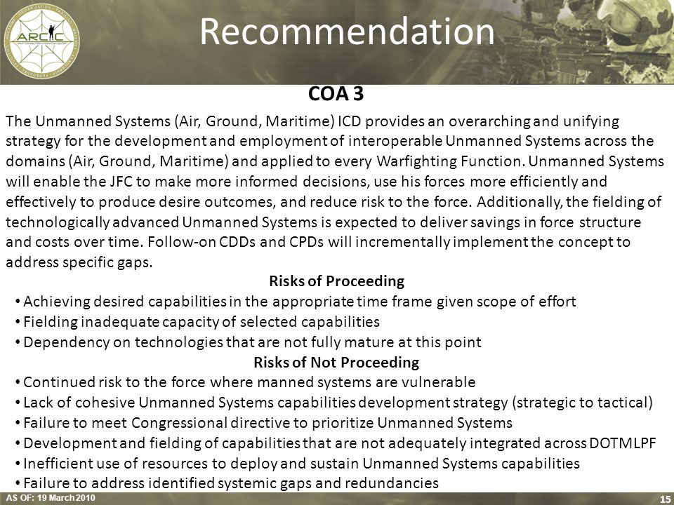AS OF: 19 March 2010 15 Recommendation COA 3 The Unmanned Systems (Air, Ground, Maritime) ICD provides an overarching and unifying strategy for the de