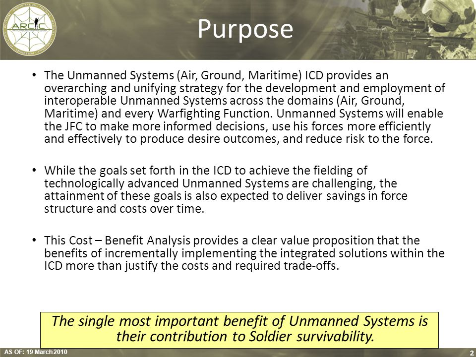 AS OF: 19 March 2010 2 Purpose The Unmanned Systems (Air, Ground, Maritime) ICD provides an overarching and unifying strategy for the development and