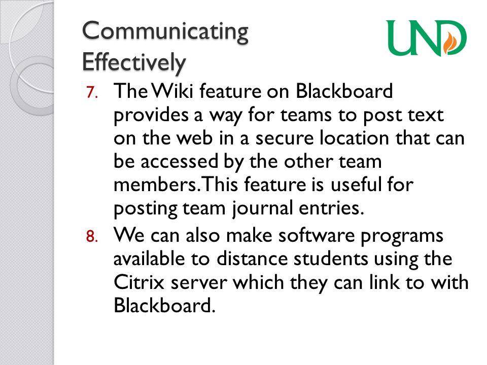 Communicating Effectively 7.