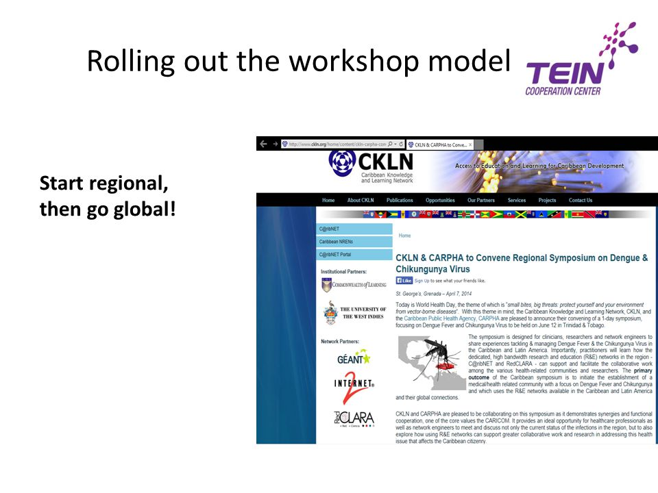 Rolling out the workshop model Start regional, then go global!