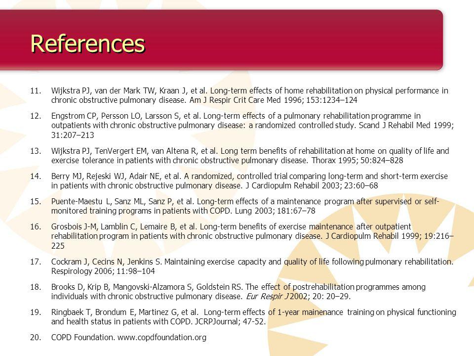 References 11.Wijkstra PJ, van der Mark TW, Kraan J, et al.