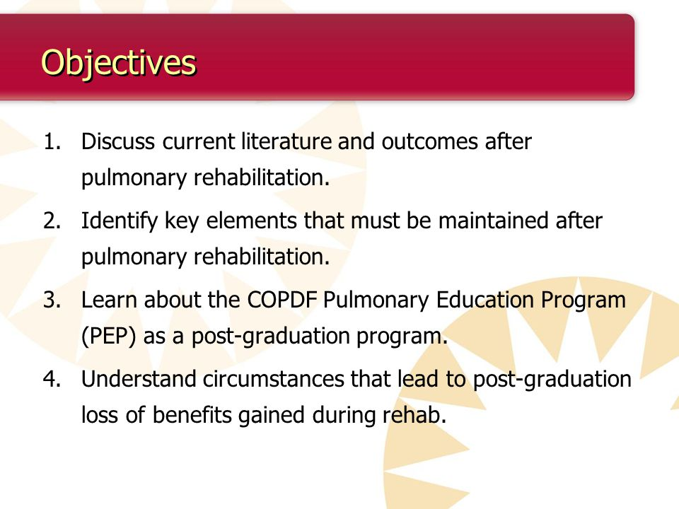 Objectives 1.Discuss current literature and outcomes after pulmonary rehabilitation.