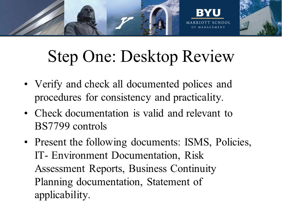 Step One: Desktop Review Verify and check all documented polices and procedures for consistency and practicality.