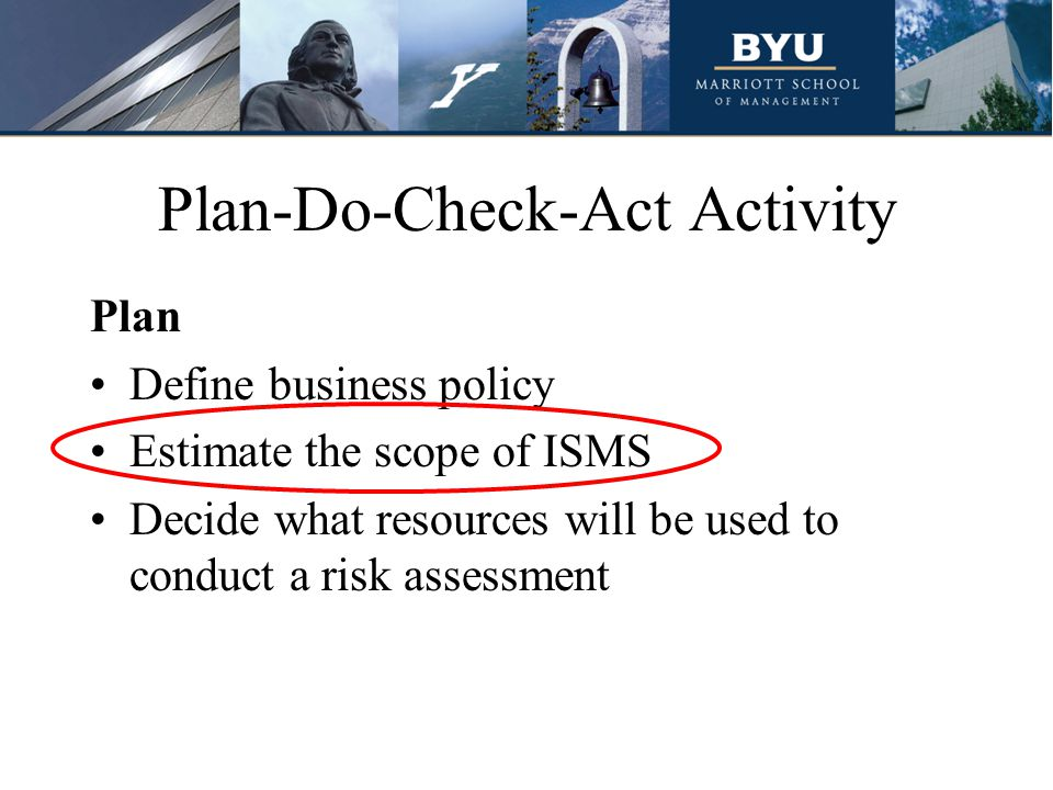 Plan-Do-Check-Act Activity Plan Define business policy Estimate the scope of ISMS Decide what resources will be used to conduct a risk assessment
