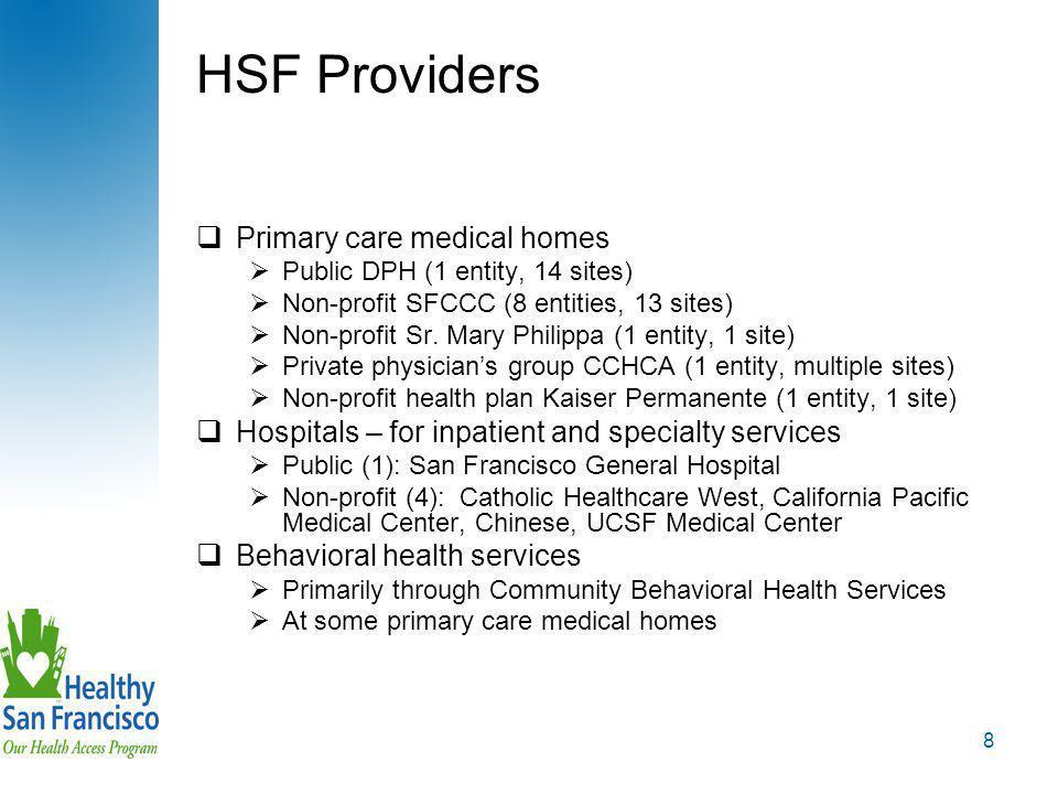 8 HSF Providers  Primary care medical homes  Public DPH (1 entity, 14 sites)  Non-profit SFCCC (8 entities, 13 sites)  Non-profit Sr.