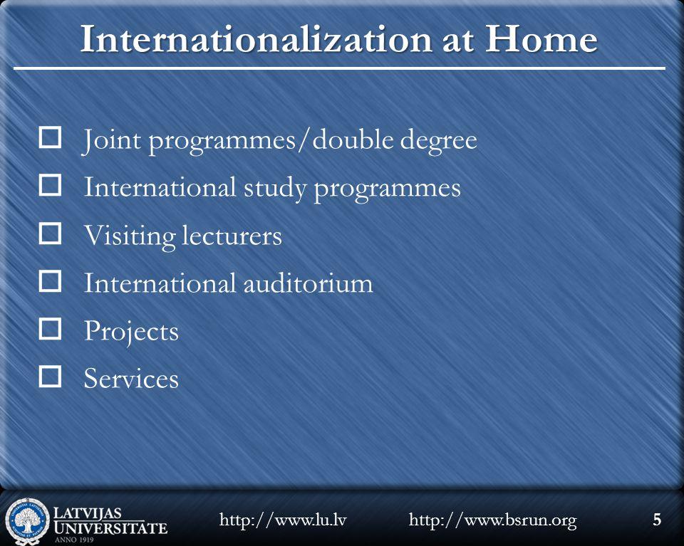 Internationalization at Home  Joint programmes/double degree  International study programmes  Visiting lecturers  International auditorium  Proje