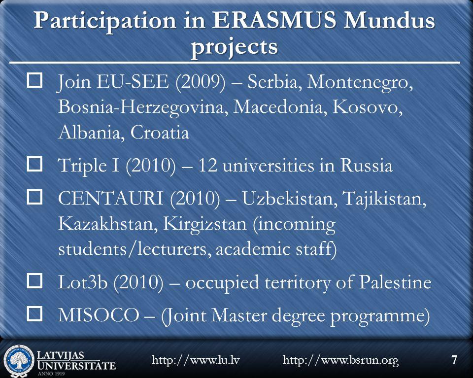 Participation in ERASMUS Mundus projects  Join EU-SEE (2009) – Serbia, Montenegro, Bosnia-Herzegovina, Macedonia, Kosovo, Albania, Croatia  Triple I (2010) – 12 universities in Russia  CENTAURI (2010) – Uzbekistan, Tajikistan, Kazakhstan, Kirgizstan (incoming students/lecturers, academic staff)  Lot3b (2010) – occupied territory of Palestine  MISOCO – (Joint Master degree programme) http://www.bsrun.orghttp://www.lu.lv7